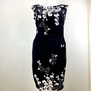Chaps Black and White Floral Dress
